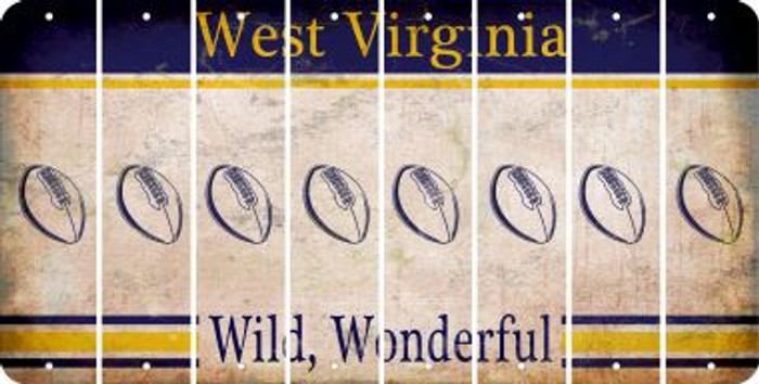West Virginia FOOTBALL Cut License Plate Strips (Set of 8) LPS-WV1-060