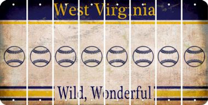 West Virginia BASEBALL / SOFTBALL Cut License Plate Strips (Set of 8) LPS-WV1-063