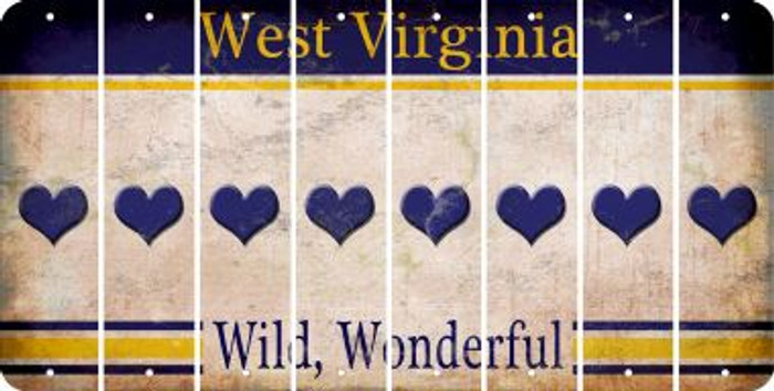 West Virginia HEART Cut License Plate Strips (Set of 8) LPS-WV1-081