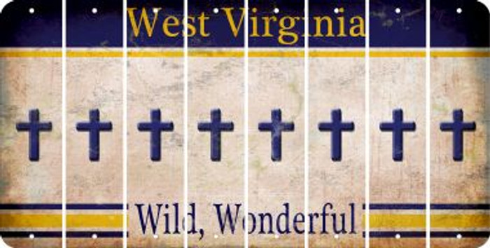 West Virginia CROSS Cut License Plate Strips (Set of 8) LPS-WV1-083