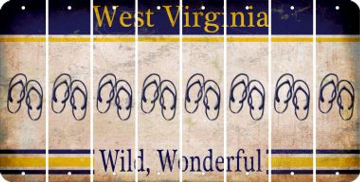 West Virginia FLIP FLOPS Cut License Plate Strips (Set of 8) LPS-WV1-085
