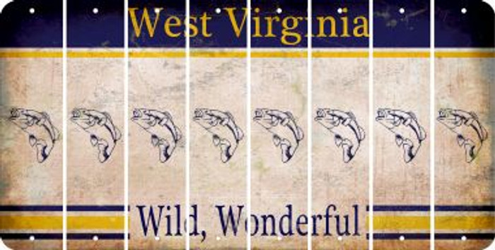 West Virginia FISH Cut License Plate Strips (Set of 8) LPS-WV1-086