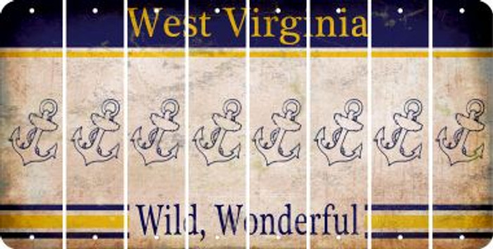 West Virginia ANCHOR Cut License Plate Strips (Set of 8) LPS-WV1-093