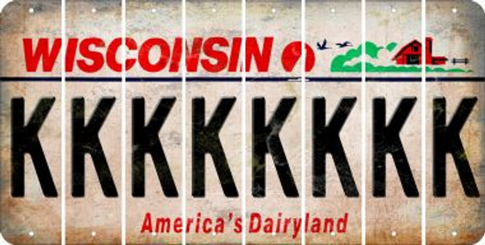 Wisconsin K Cut License Plate Strips (Set of 8) LPS-WI1-011