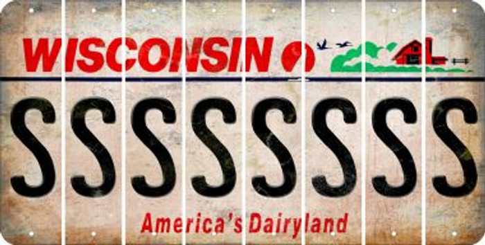 Wisconsin S Cut License Plate Strips (Set of 8) LPS-WI1-019