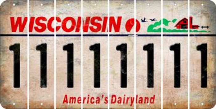 Wisconsin 1 Cut License Plate Strips (Set of 8) LPS-WI1-028