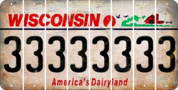 Wisconsin 3 Cut License Plate Strips (Set of 8) LPS-WI1-030