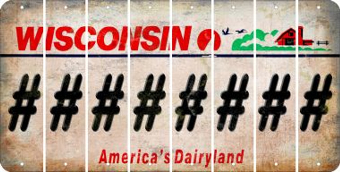 Wisconsin HASHTAG Cut License Plate Strips (Set of 8) LPS-WI1-043