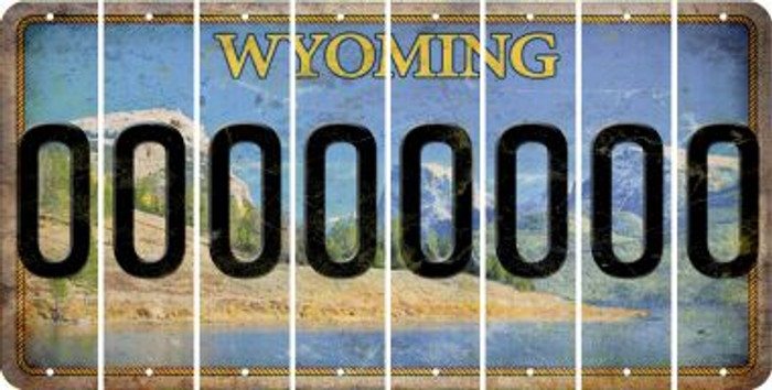 Wyoming 0 Cut License Plate Strips (Set of 8) LPS-WY1-027