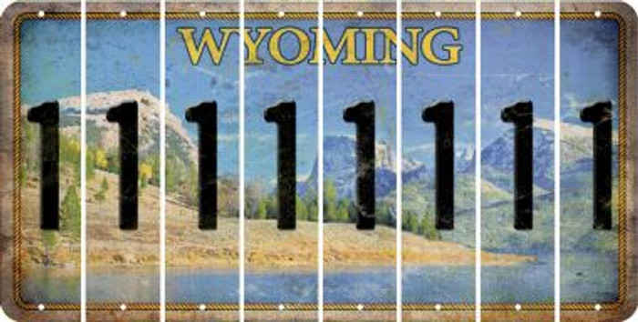 Wyoming 1 Cut License Plate Strips (Set of 8) LPS-WY1-028