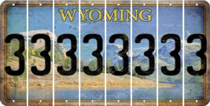 Wyoming 3 Cut License Plate Strips (Set of 8) LPS-WY1-030