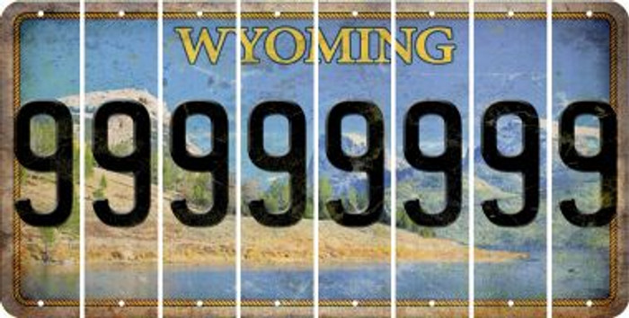 Wyoming 9 Cut License Plate Strips (Set of 8) LPS-WY1-036
