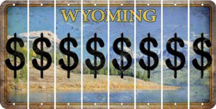Wyoming DOLLAR SIGN Cut License Plate Strips (Set of 8) LPS-WY1-040