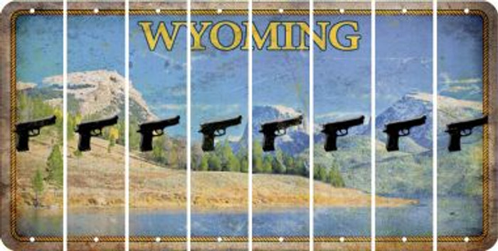 Wyoming HANDGUN Cut License Plate Strips (Set of 8) LPS-WY1-051