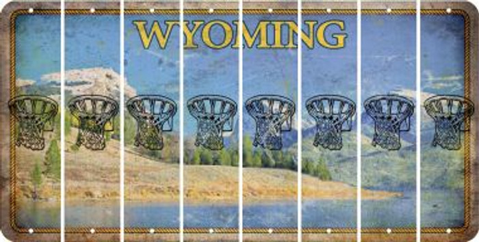 Wyoming BASKETBALL HOOP Cut License Plate Strips (Set of 8) LPS-WY1-058