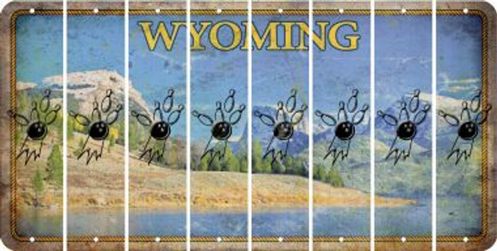 Wyoming BOWLING Cut License Plate Strips (Set of 8) LPS-WY1-059