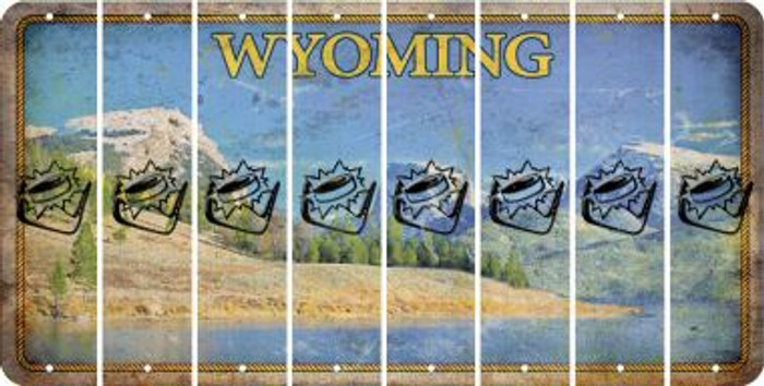 Wyoming HOCKEY Cut License Plate Strips (Set of 8) LPS-WY1-062