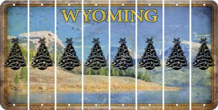 Wyoming CHRISTMAS TREE Cut License Plate Strips (Set of 8) LPS-WY1-077