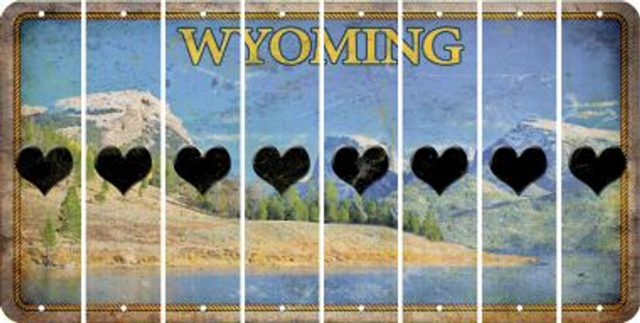 Wyoming HEART Cut License Plate Strips (Set of 8) LPS-WY1-081