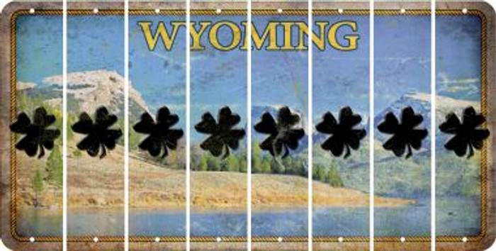 Wyoming SHAMROCK Cut License Plate Strips (Set of 8) LPS-WY1-082