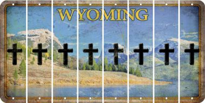 Wyoming CROSS Cut License Plate Strips (Set of 8) LPS-WY1-083