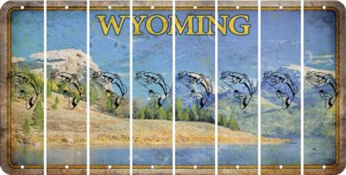 Wyoming FISH Cut License Plate Strips (Set of 8) LPS-WY1-086