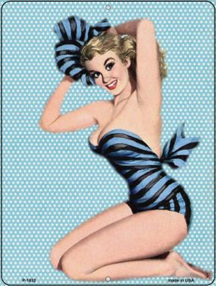 Striped Bathing Suit Girl Vintage Pinup Wholesale Parking Sign P-1832