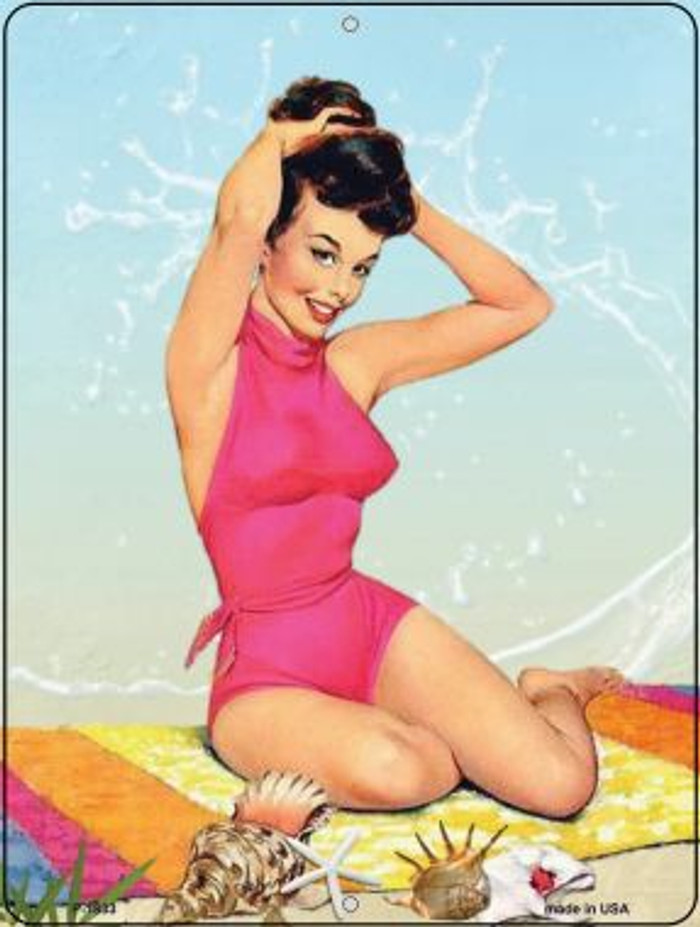 Pink Bathing Suit Girl Vintage Pinup Wholesale Parking Sign P-1833