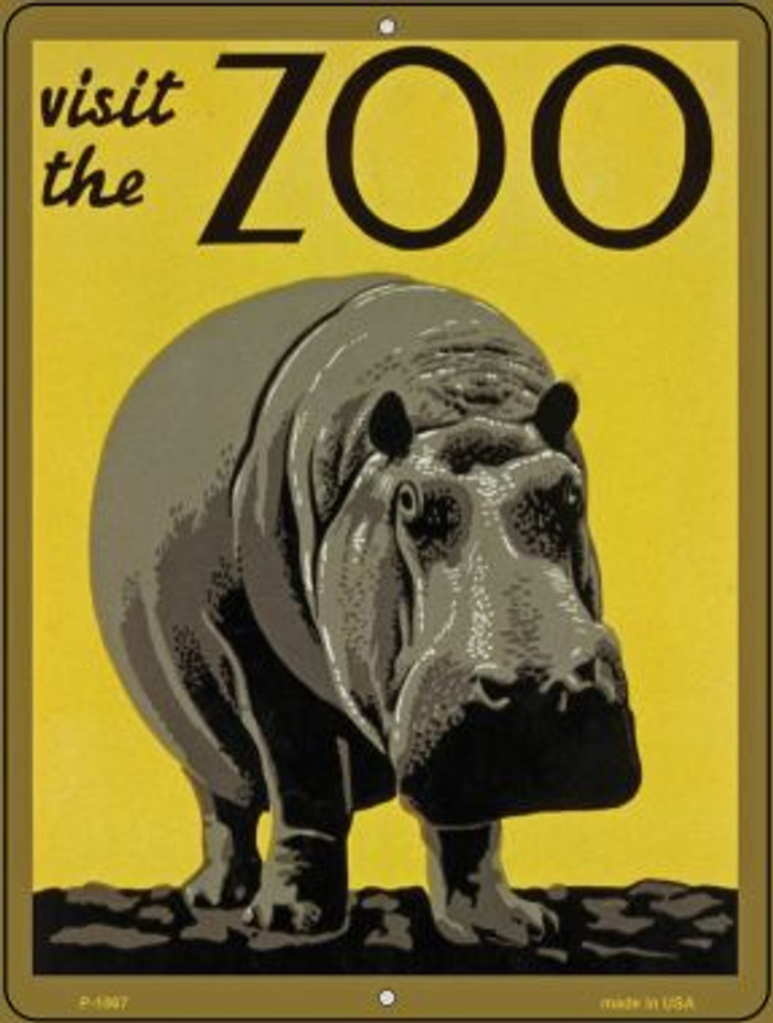 Visit the Zoo Yellow Vintage Poster Wholesale Parking Sign P-1867