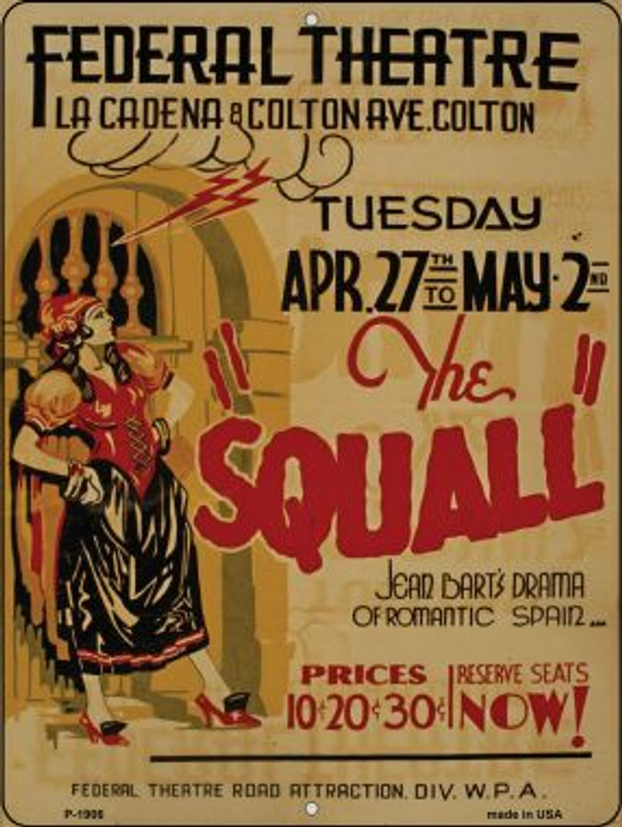 The Squall Vintage Poster Wholesale Parking Sign P-1906