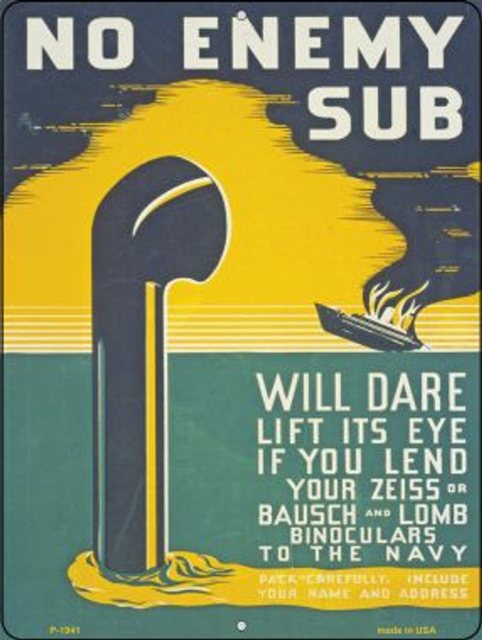 No Enemy Sub Vintage Poster Wholesale Parking Sign P-1941