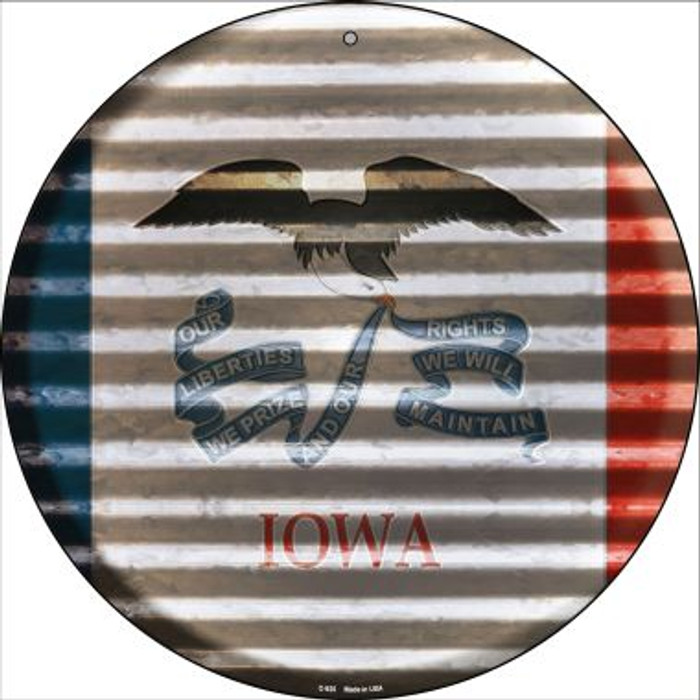 Iowa Flag Corrugated Effect Wholesale Novelty Circular Sign C-925