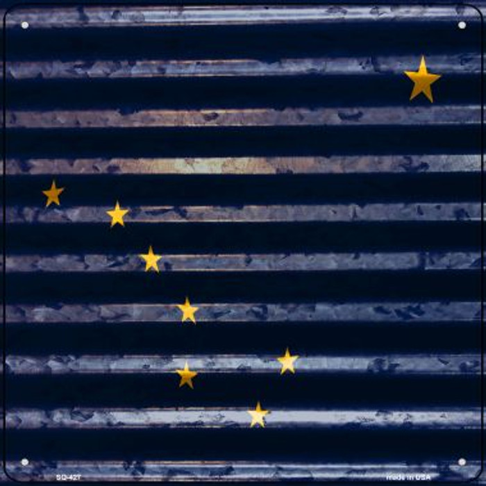 Alaska Flag Corrugated Effect Wholesale Novelty Square Sign SQ-427