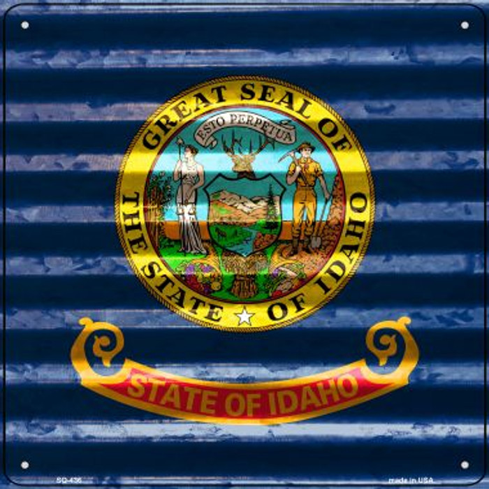 Idaho Flag Corrugated Effect Wholesale Novelty Square Sign SQ-436