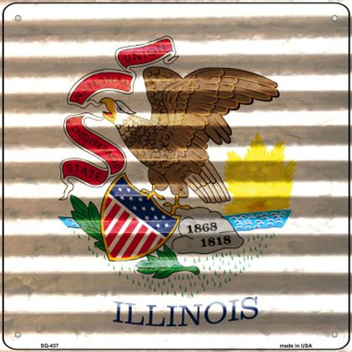 Illinois Flag Corrugated Effect Wholesale Novelty Square Sign SQ-437