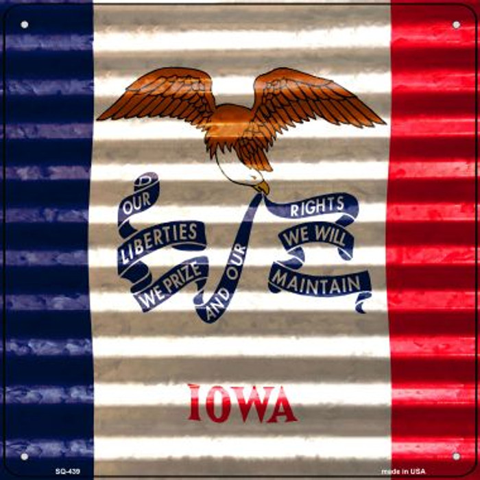 Iowa Flag Corrugated Effect Wholesale Novelty Square Sign SQ-439