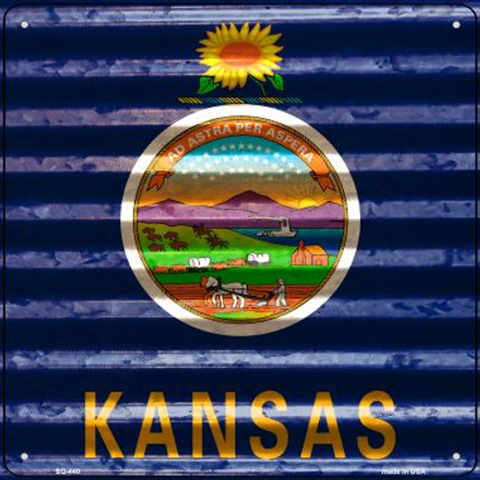 Kansas Flag Corrugated Effect Wholesale Novelty Square Sign SQ-440