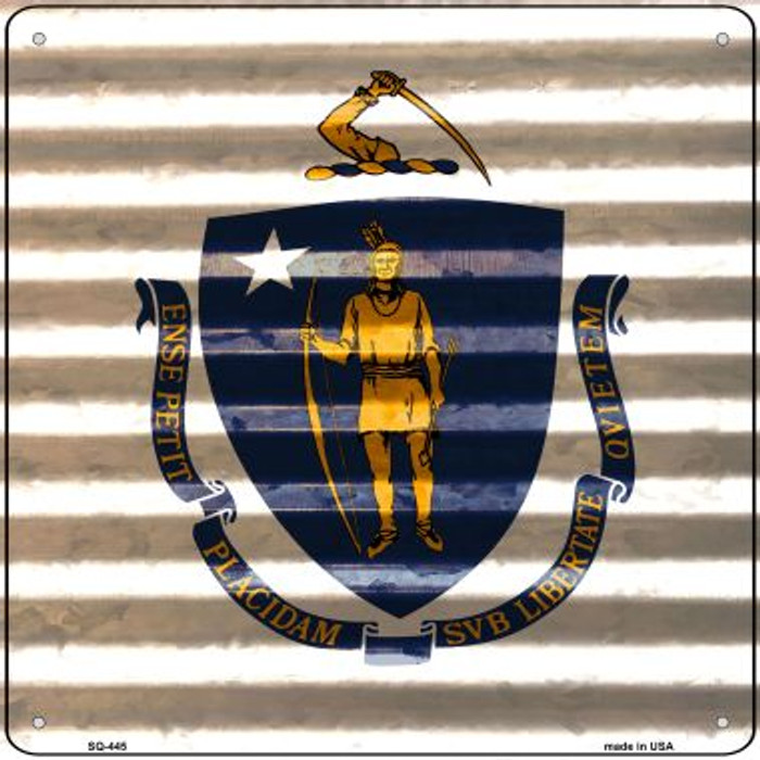Massachusetts Flag Corrugated Effect Wholesale Novelty Square Sign SQ-445