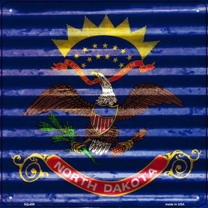 North Dakota Flag Corrugated Effect Wholesale Novelty Square Sign SQ-458