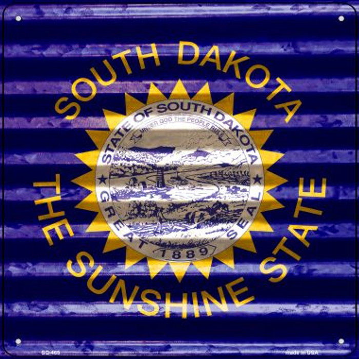 South Dakota Flag Corrugated Effect Wholesale Novelty Square Sign SQ-465