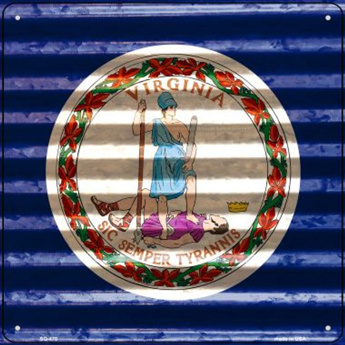 Virginia Flag Corrugated Effect Wholesale Novelty Square Sign SQ-470