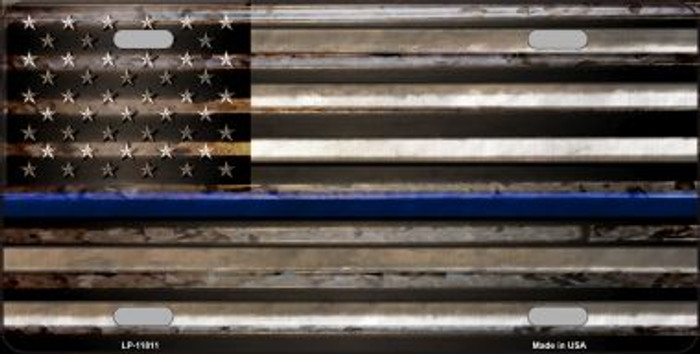 Thin Blue Line American Flag Wholesale Novelty License Plate LP-11811