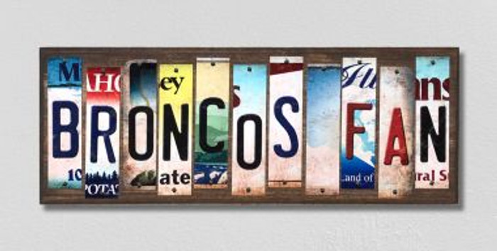 Broncos Fan Wholesale Novelty License Plate Strips Wood Sign WS-339