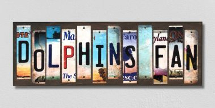 Dolphins Fan Wholesale Novelty License Plate Strips Wood Sign WS-343