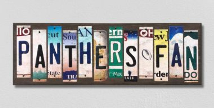 Panthers Fan License Plate Strips Wholesale Novelty Wood Signs WS-345