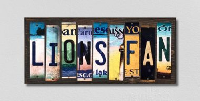 Lions Fan License Plate Strips Wholesale Novelty Wood Signs WS-347