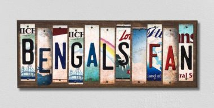 Bengals Fan Wholesale Novelty License Plate Strips Wood Sign WS-358