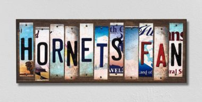 Hornets Fan License Plate Strips Wholesale Novelty Wood Signs WS-385