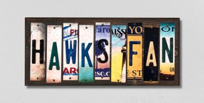 Hawks Fan License Plate Strips Wholesale Novelty Wood Signs WS-386