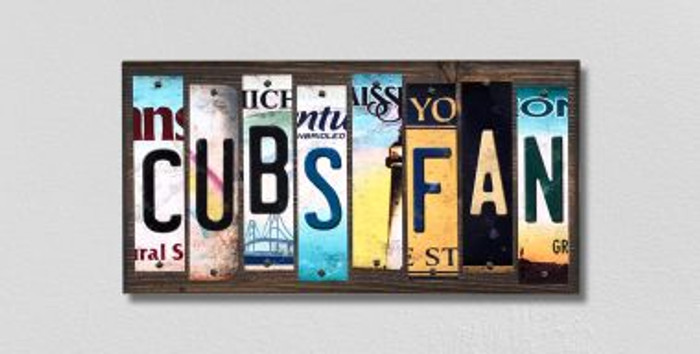 Cubs Fan Wholesale Novelty License Plate Strips Wood Sign WS-390
